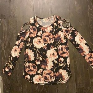 Gorgeous floral cold shoulder sweater.